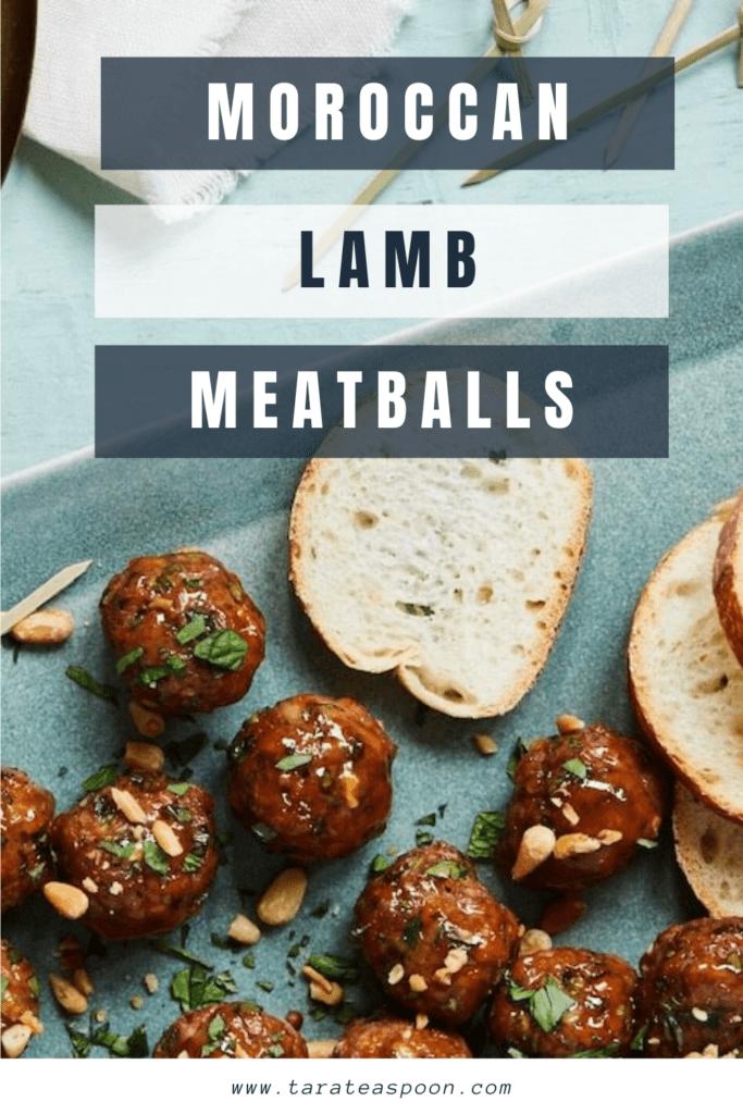 Moroccan Lamb Meatballs close up of meatballs pin