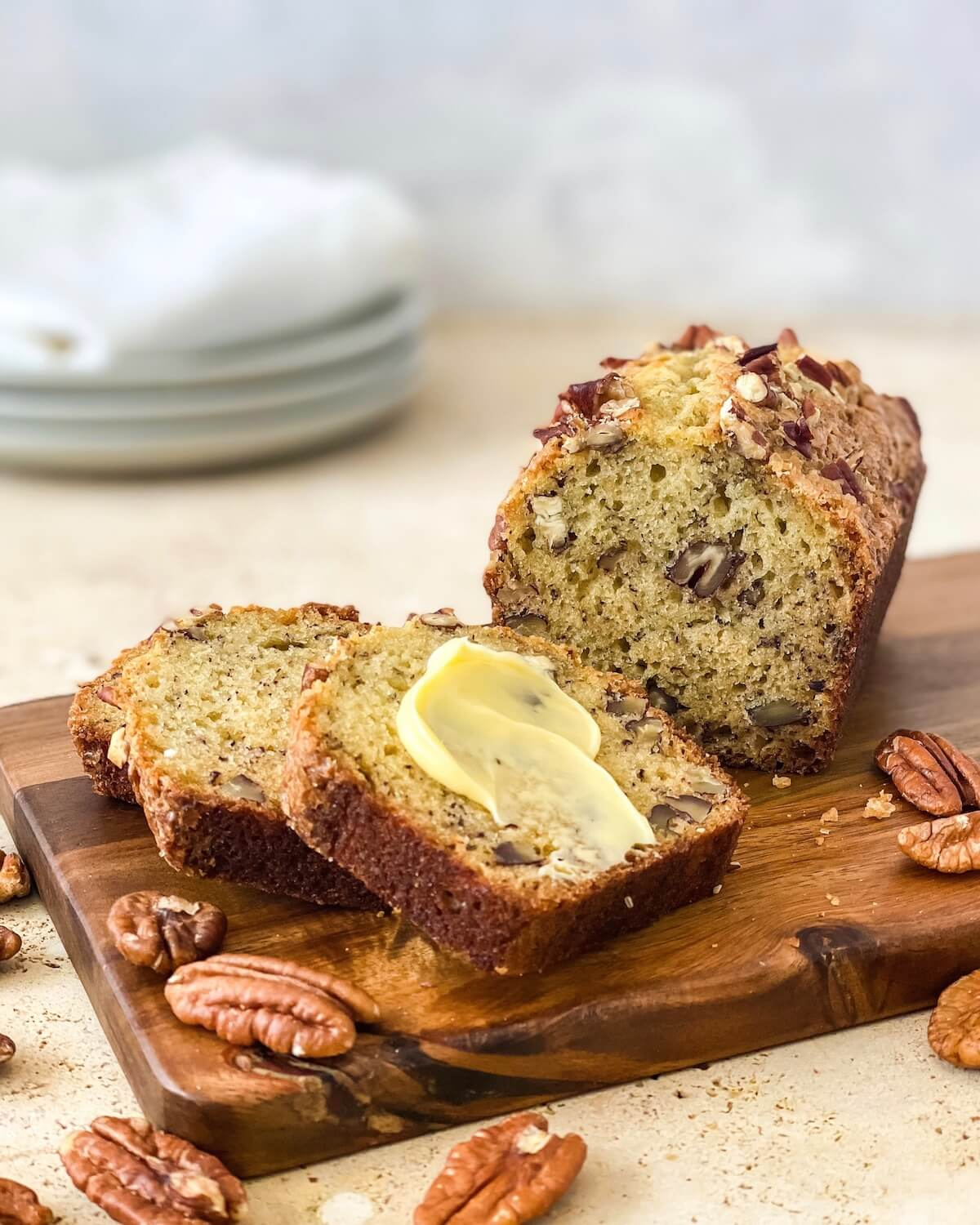 pecan banana bread with butter