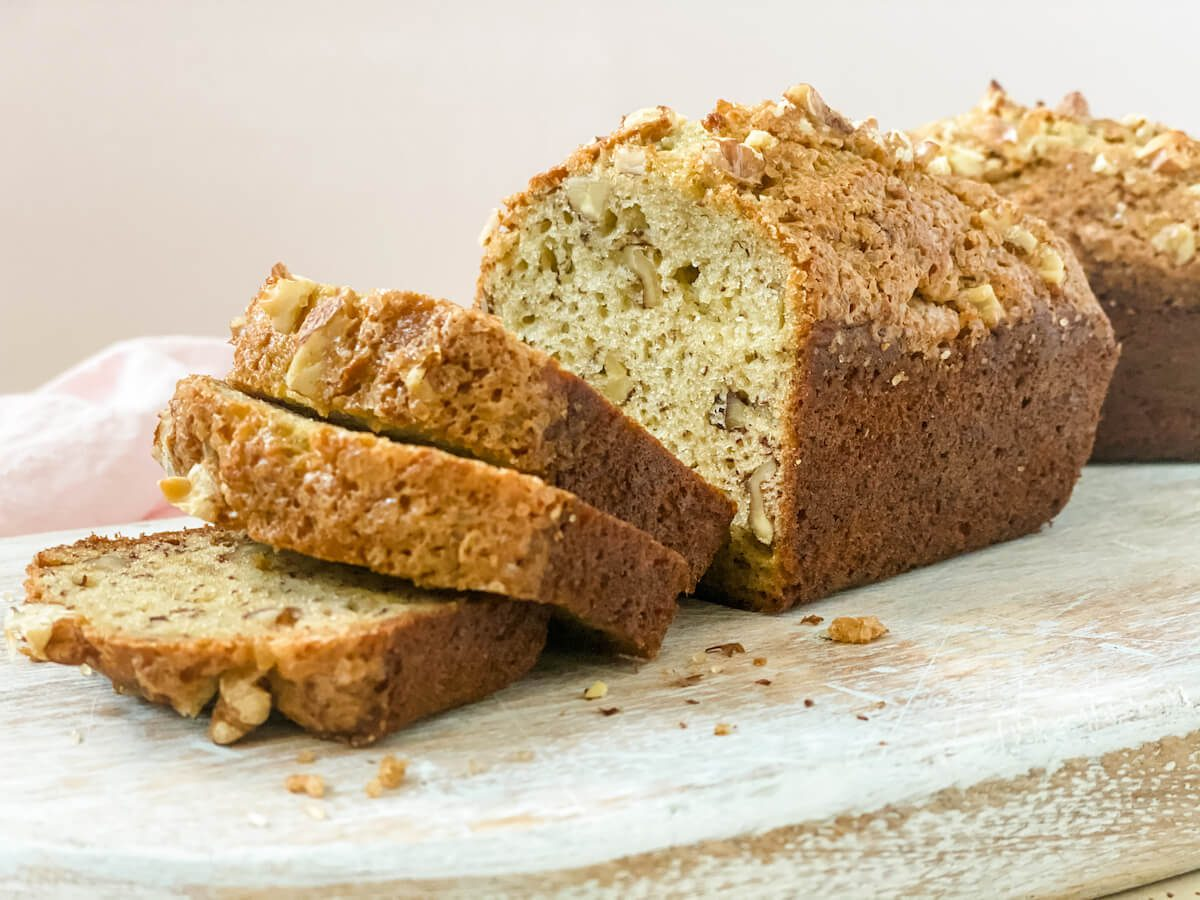 banana nut bread sliced on board