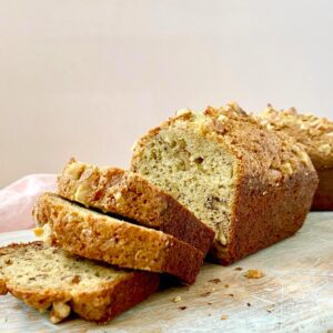 sliced banana bread on board