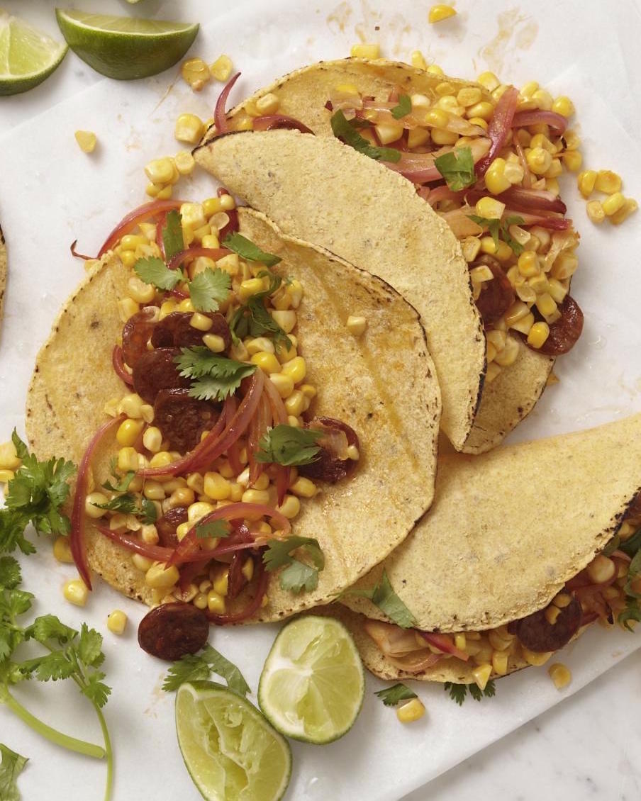 chorizo tacos with corn and pickled onions