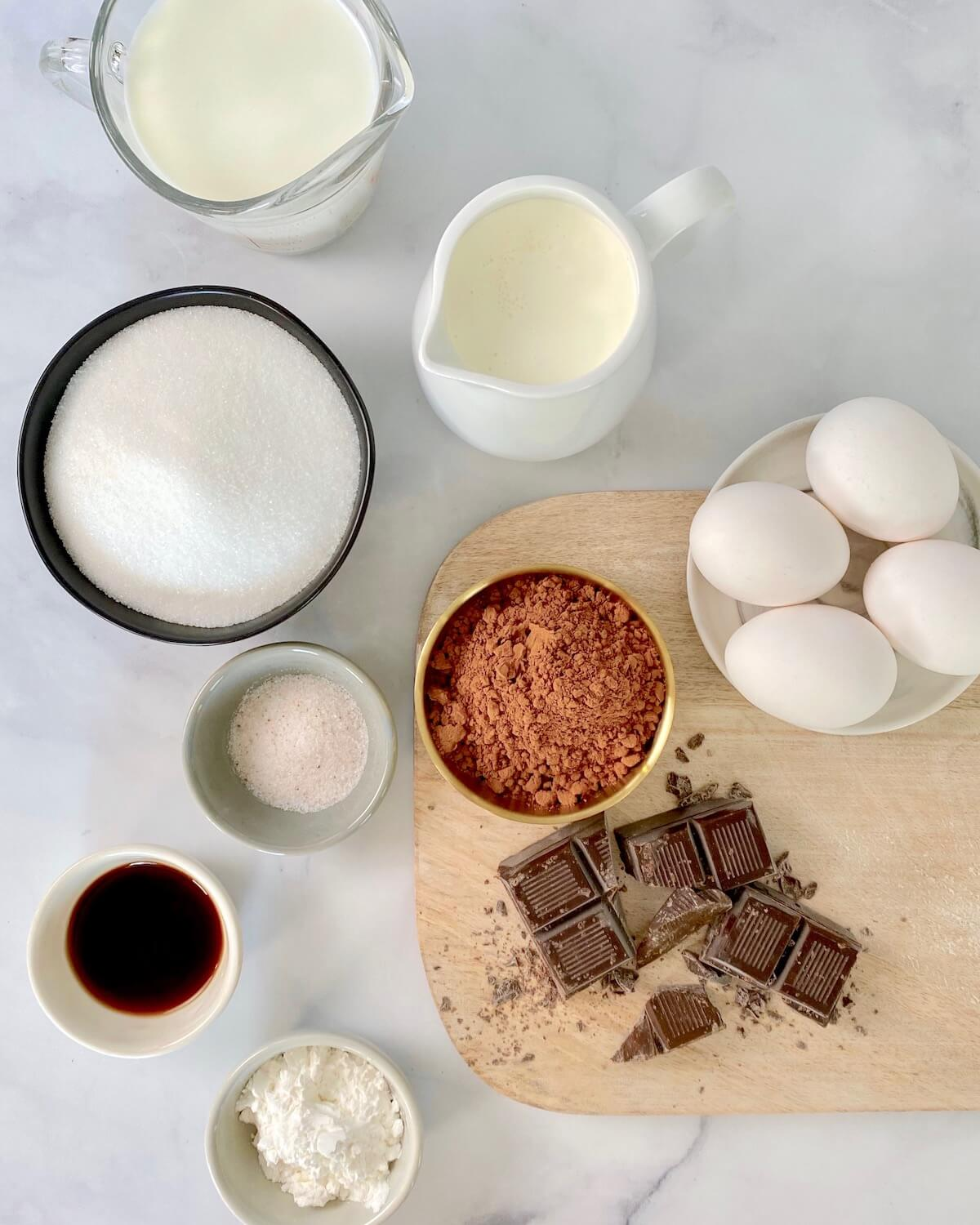 all ingredients for chocolate ice cream