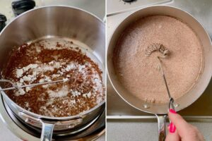 adding ingredients to pan for chocolate ice cream