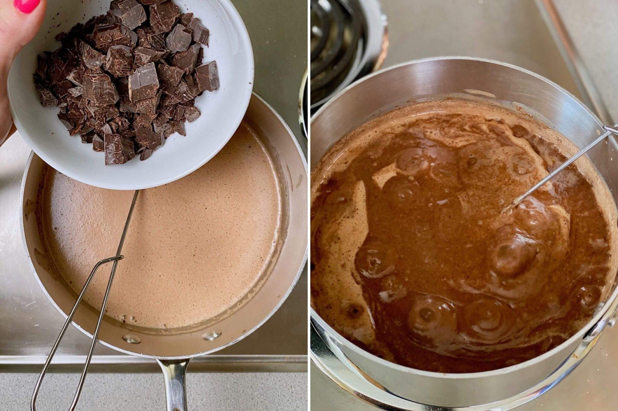 adding chocolate to ice cream mixture on stove