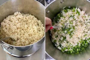 adding cilantro to lime rice