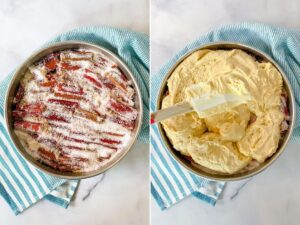 rhubarb and sugar in a pan with batter getting spread on top