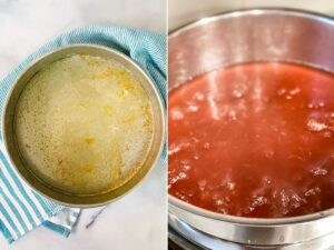 melted butter and rhubarb sauce