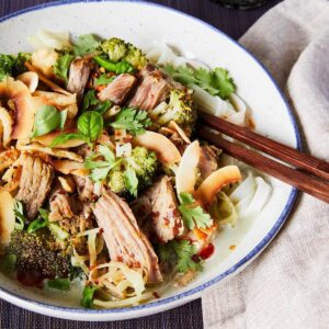 pork curry with broccoli and coconut in bowl