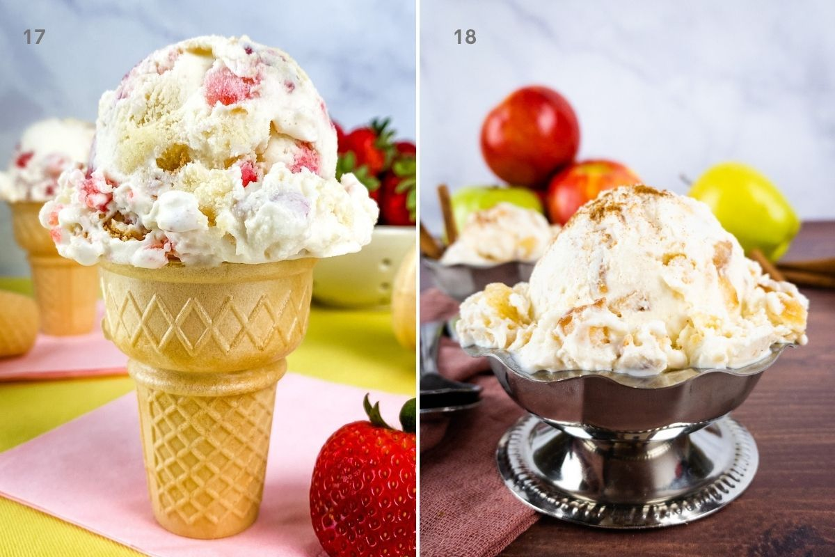 strawberry shortcake ice cream and apple pie ice cream