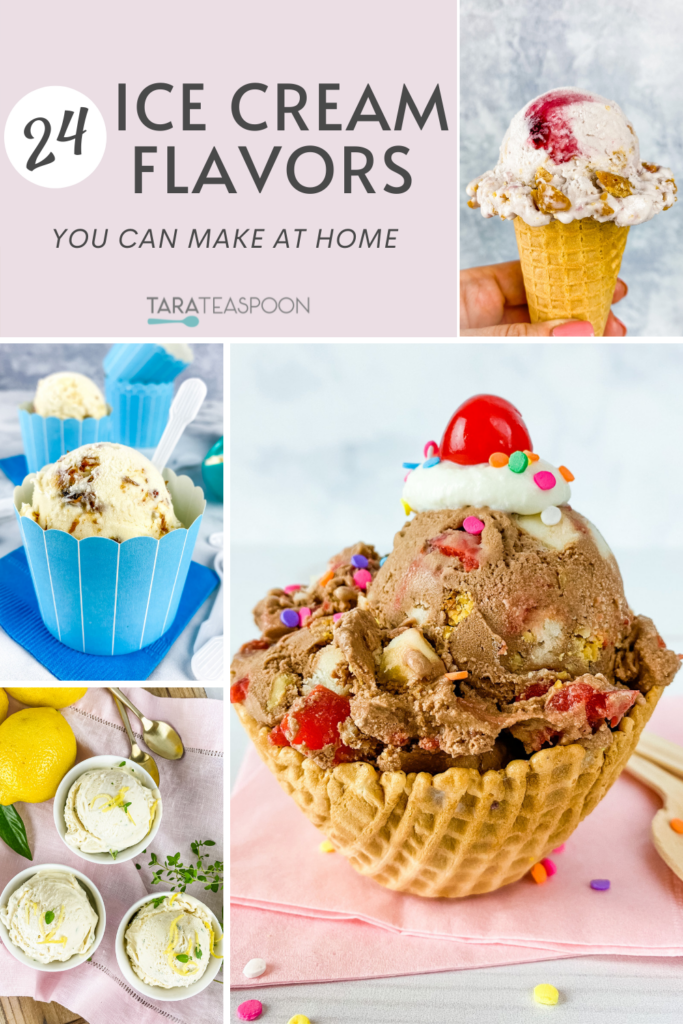 Pictures of different ice cream flavors