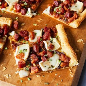 pancetta and brie tart with pastry crust