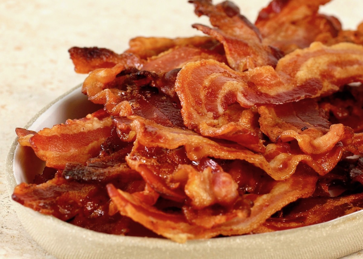 close up of bacon cooked in the oven