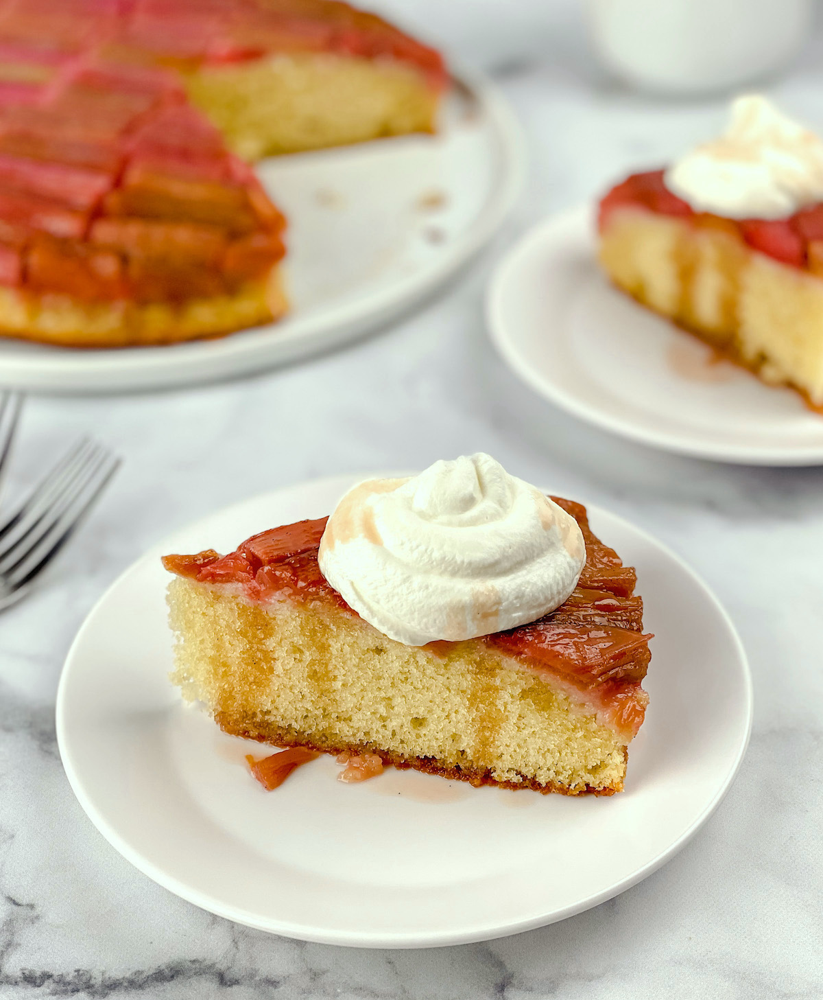 perfect slice of rhubarb cake with sauce and cream