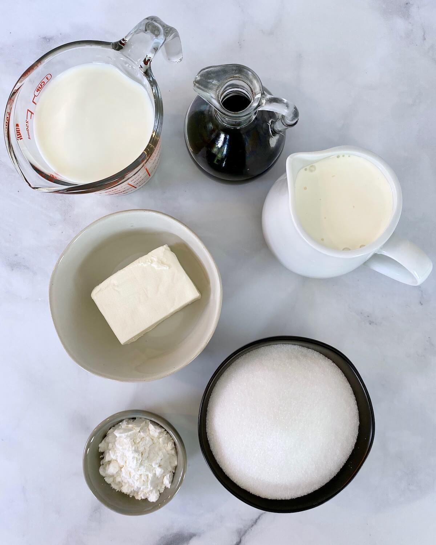 vanilla ice cream ingredients in bowls