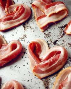 the paper mama bacon hearts on a tray