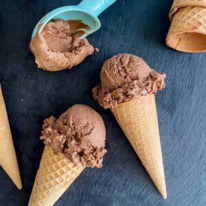chocolate ice cream cones on black slate