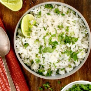 cilantro and lime rice in a bowl