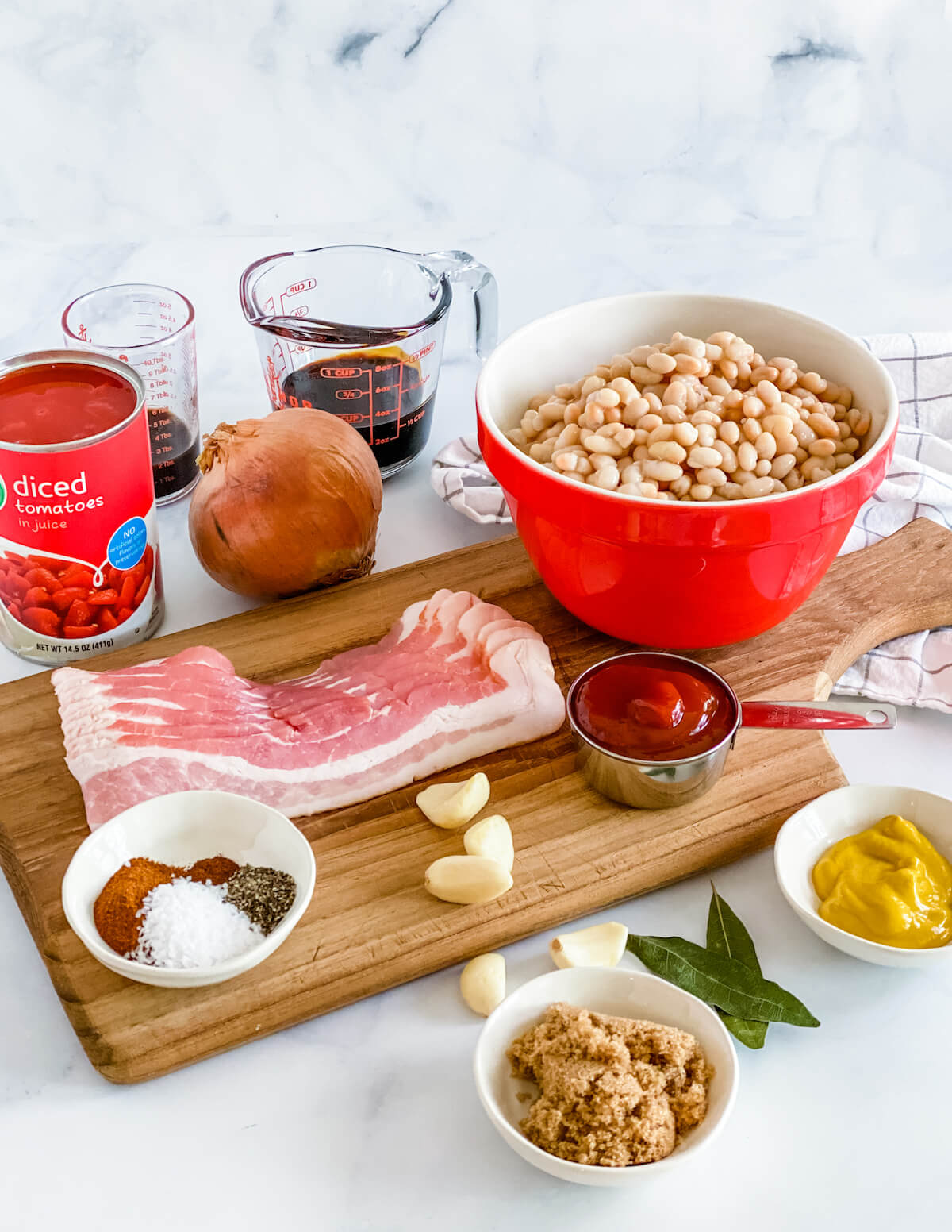ingredients for Boston baked beans