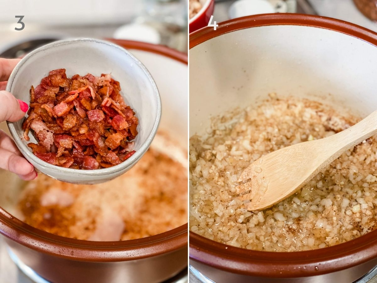 crisp bacon and onions for baked beans