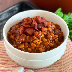bowl of boston baked beans with bacon