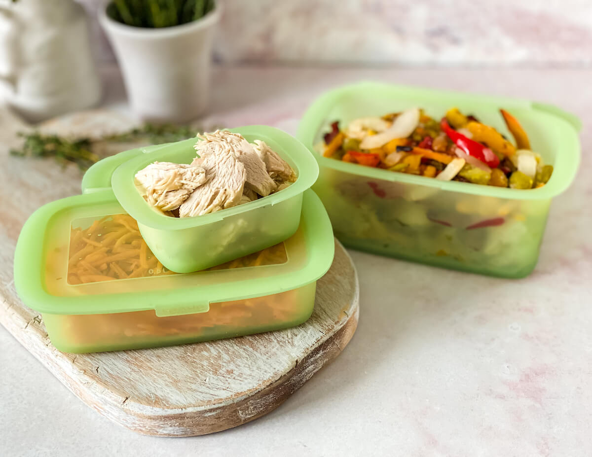 Lekue silicone storage containers with food