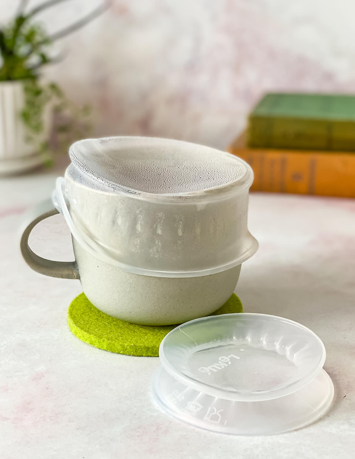 Lekue brand mini silicone lid on tea cup